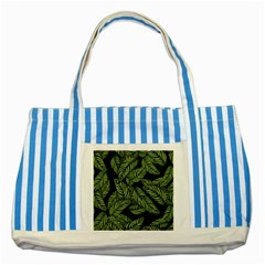 Tropical Leaves On Black Striped Blue Tote Bag