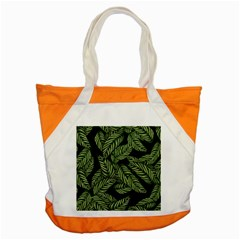 Tropical Leaves On Black Accent Tote Bag