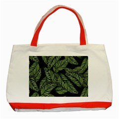 Tropical Leaves On Black Classic Tote Bag (red)
