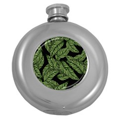 Tropical Leaves On Black Round Hip Flask (5 Oz)
