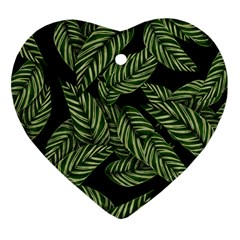 Tropical Leaves On Black Heart Ornament (two Sides)