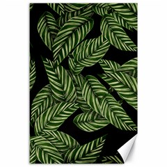 Tropical Leaves On Black Canvas 24  X 36