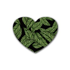 Tropical Leaves On Black Rubber Coaster (heart)