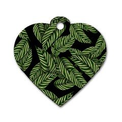 Tropical Leaves On Black Dog Tag Heart (two Sides)