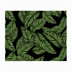 Tropical Leaves On Black Small Glasses Cloth (2 Side)
