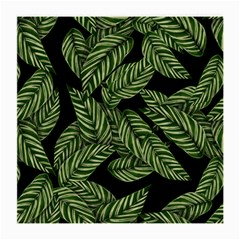 Tropical Leaves On Black Medium Glasses Cloth (2 Side)