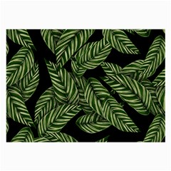 Tropical Leaves On Black Large Glasses Cloth (2 Side)