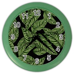 Tropical Leaves On Black Color Wall Clock