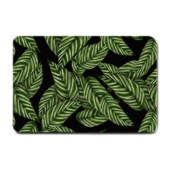 Tropical Leaves On Black Small Doormat