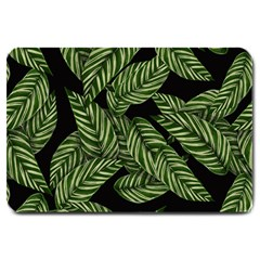 Tropical Leaves On Black Large Doormat