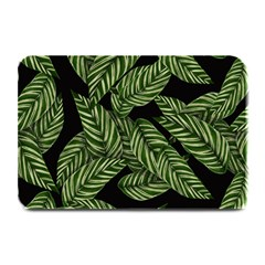 Tropical Leaves On Black Plate Mats