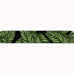 Tropical Leaves On Black Small Bar Mats