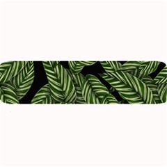 Tropical Leaves On Black Large Bar Mats