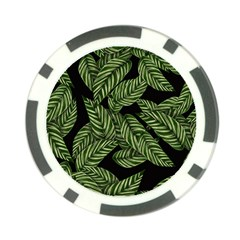 Tropical Leaves On Black Poker Chip Card Guard