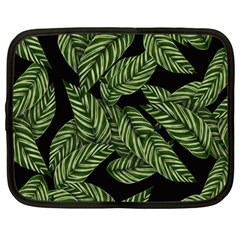 Tropical Leaves On Black Netbook Case (large)