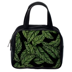 Tropical Leaves On Black Classic Handbag (one Side)