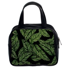 Tropical Leaves On Black Classic Handbag (two Sides)
