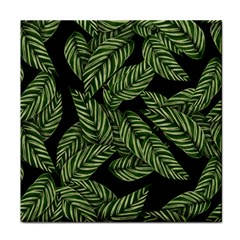 Tropical Leaves On Black Face Towel