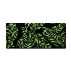 Tropical Leaves On Black Hand Towel