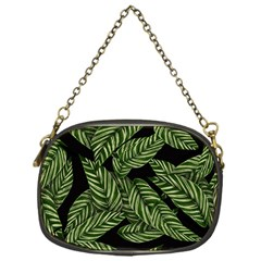 Tropical Leaves On Black Chain Purse (one Side)