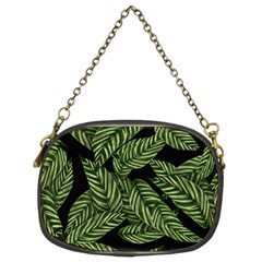 Tropical Leaves On Black Chain Purse (two Sides)