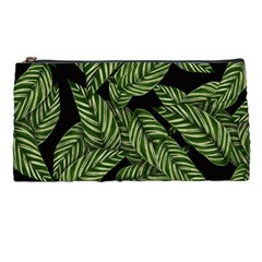 Tropical Leaves On Black Pencil Cases