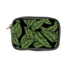 Tropical Leaves On Black Coin Purse