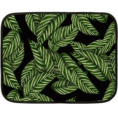 Tropical Leaves On Black Double Sided Fleece Blanket (mini)