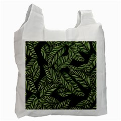 Tropical Leaves On Black Recycle Bag (one Side)