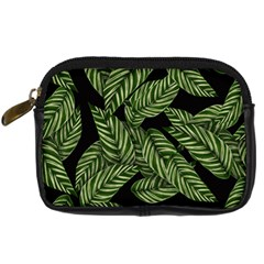 Tropical Leaves On Black Digital Camera Leather Case