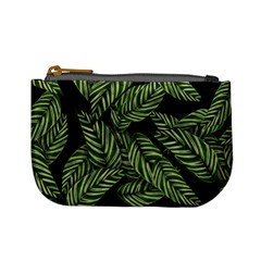 Tropical Leaves On Black Mini Coin Purse