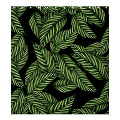Tropical Leaves On Black Shower Curtain 66  X 72  (large)