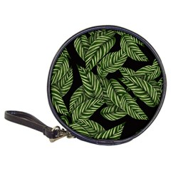 Tropical Leaves On Black Classic 20 Cd Wallets