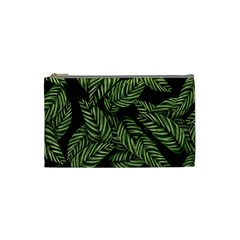 Tropical Leaves On Black Cosmetic Bag (small)