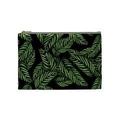 Tropical Leaves On Black Cosmetic Bag (medium)