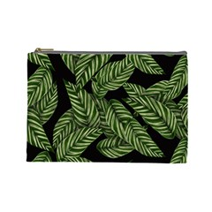 Tropical Leaves On Black Cosmetic Bag (large)