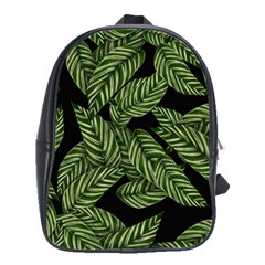 Tropical Leaves On Black School Bag (large)
