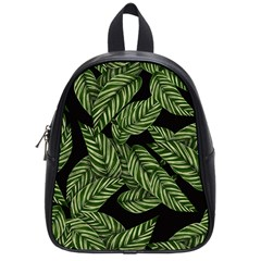 Tropical Leaves On Black School Bag (small)
