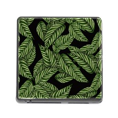 Tropical Leaves On Black Memory Card Reader (square 5 Slot)