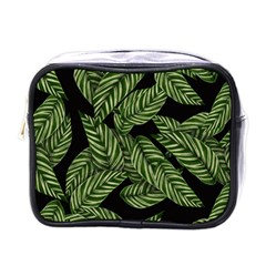 Tropical Leaves On Black Mini Toiletries Bag (one Side)
