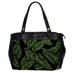 Tropical Leaves On Black Oversize Office Handbag