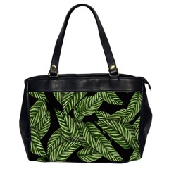 Tropical Leaves On Black Oversize Office Handbag (2 Sides)