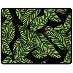 Tropical Leaves On Black Fleece Blanket (medium)