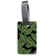 Tropical Leaves On Black Luggage Tags (two Sides)