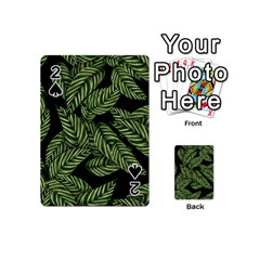 Tropical Leaves On Black Playing Cards 54 (mini)