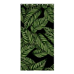 Tropical Leaves On Black Shower Curtain 36  X 72  (stall)