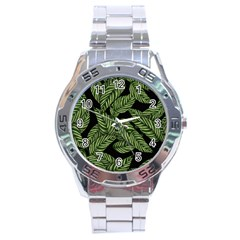 Tropical Leaves On Black Stainless Steel Analogue Watch