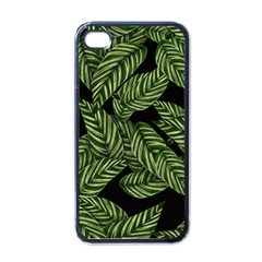 Tropical Leaves On Black Apple Iphone 4 Case (black)