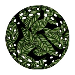 Tropical Leaves On Black Round Filigree Ornament (two Sides)