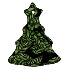 Tropical Leaves On Black Christmas Tree Ornament (two Sides)